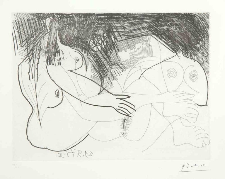 """29 mars 1971 II is an original Contemporary Artwork realized by Pablo Picasso (Malaga, 1881 - Moujins, 1973) in 1971.  Original B/W Etching on Wove paper. The work is the sheet N. 98 from the series """"156 Gravures"""".  Sheet Dimensions: 23 x 31"""