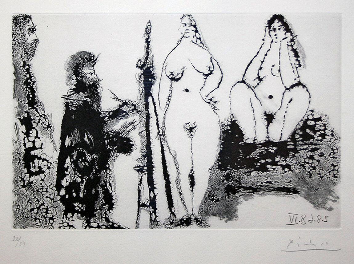 Peintre barbu en robe de chambre, avec deux femmes nues et un visiteur