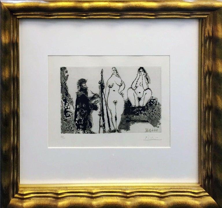 Peintre barbu en robe de chambre, avec deux femmes nues et un visiteur - Print by Pablo Picasso