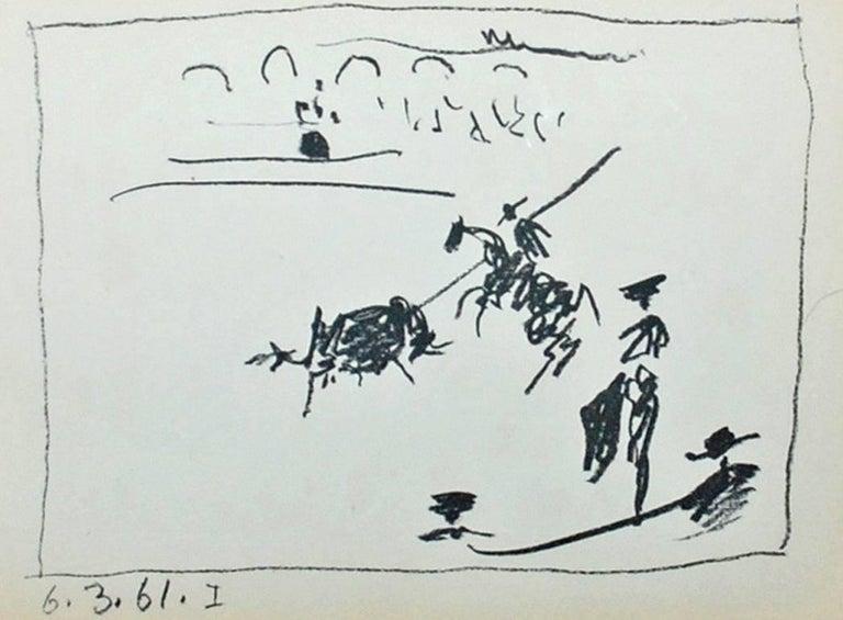 A Los Toros Avec Picasso (Set of Four) - Gray Landscape Print by Pablo Picasso
