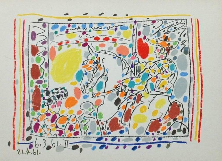Artist: Pablo Picasso Medium: Set of four original transfer lithographs Titles: La Pique (I), Le Picador (II), Jeu de la Cape (III), Les Banderilles (IV) Portfolio: A Los Toros Avec Picasso Year: 1961 Framed Size: 18 1/4 x 20 3/4 inches each Image