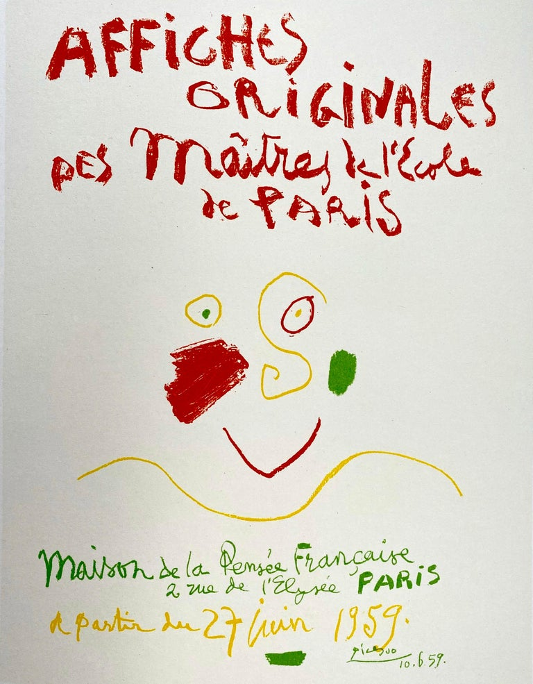 """Affiches Originales; Original Posters by Pablo Picasso.  Lithograph from Fernand Mourlot's famous Catalogue """"Picasso Lithographe Volume IV published in Paris in 1964.  The book was published in 2500 copies and this is an unsigned, unnumbered"""
