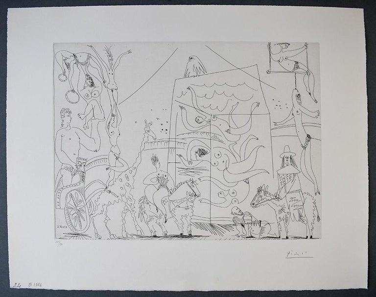 At the Circus: Acrobats, Giraffe and Swimmers, from: Series 347  - Print by Pablo Picasso