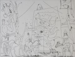 At the Circus: Acrobats, Giraffe and Swimmers, from: Series 347