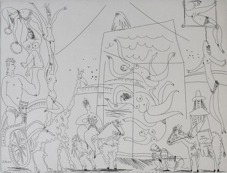 Pablo Picasso Figurative Print - At the Circus: Acrobats, Giraffe and Swimmers, from: Series 347