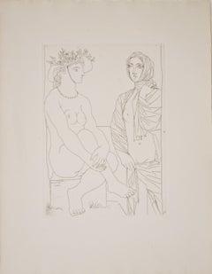 Au Bain, Femme au Chapeau à Fleurs et Femme drapée dans une Serviette B210