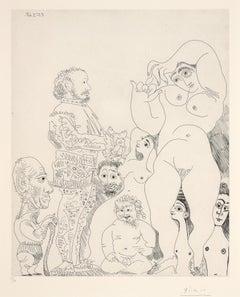Autoportrait à la canne, avec comédien, amour replet et femmes