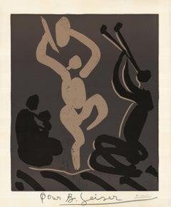 Bacchanale avec une femme assise tenant un bébé - Cubism, Prints, Linocut
