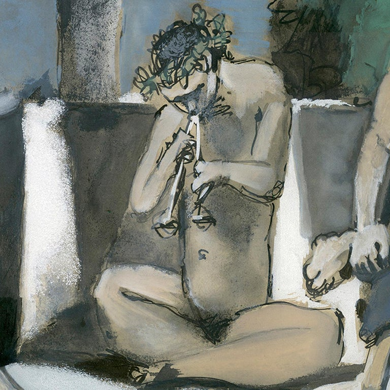 'Bacchanale' original aquatint signed by Pablo Picasso, male nude Mediterranean For Sale 2