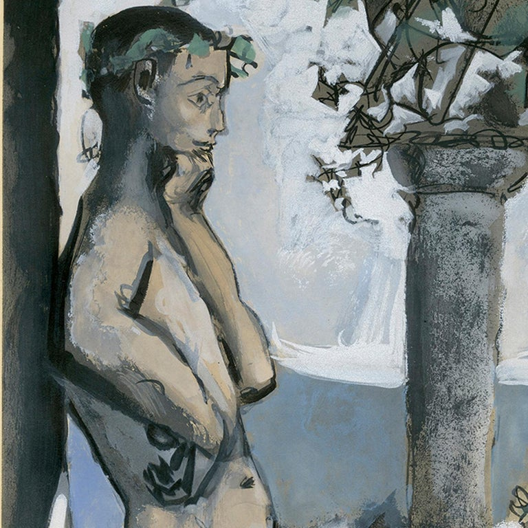 'Bacchanale' original aquatint signed by Pablo Picasso, male nude Mediterranean For Sale 3