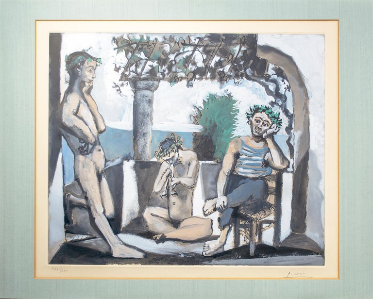 'Bacchanale' original aquatint signed by Pablo Picasso, male nude Mediterranean For Sale 6