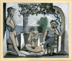 'Bacchanale' original aquatint signed by Pablo Picasso, male nude Mediterranean