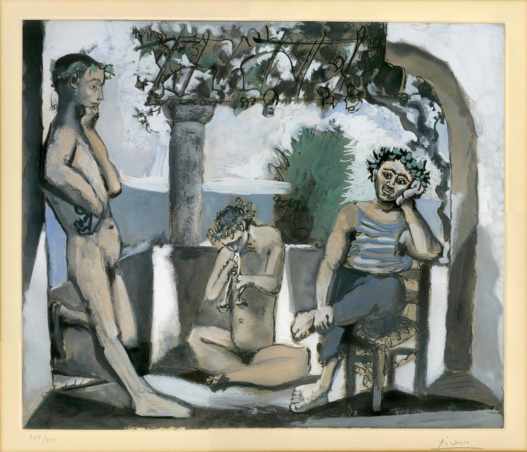'Bacchanale' is an aquatint print composed by the esteemed modernist Pablo Picasso. Published by Atelier Crommelynck in Paris under Picasso's direction and signed by the artist in pencil in the lower margin, the image presents a meditation on ageing