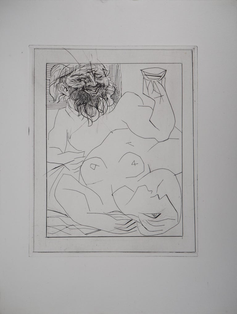Bacchus and Reclining Nude - Original etching - Vollard edition - (Bloch #284) - Print by Pablo Picasso
