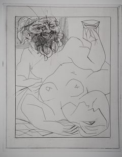 Bacchus and Reclining Nude - Original etching - Vollard edition - (Bloch #284)