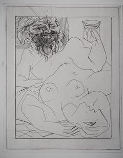 Bacchus and Reclining Nude - Original etching - Vollard edition - (Bloch #284)