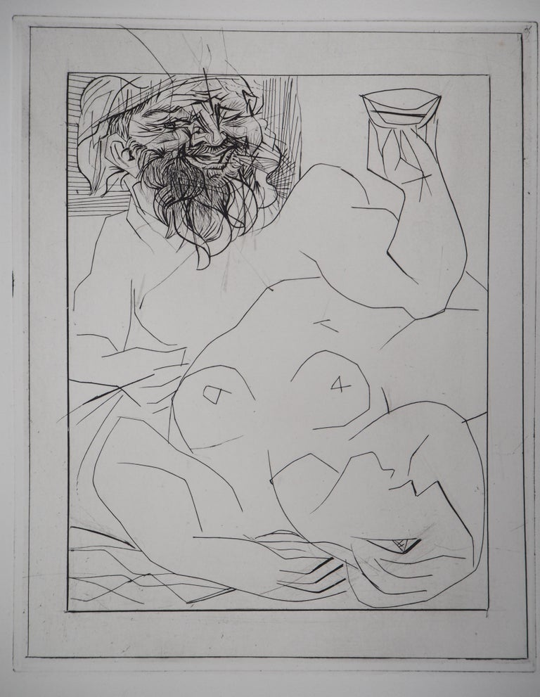 Pablo Picasso Figurative Print - Bacchus and Reclining Nude - Original etching - Vollard edition - (Bloch #284)