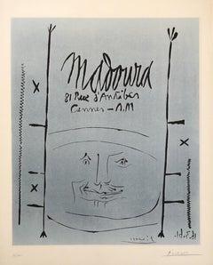 Blue Face for Madoura - Original Linocut Handsigned and Ltd /100 - (Bloch #1296)