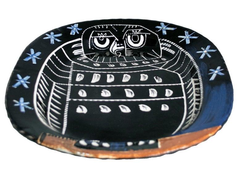 'Bright Owl' original Madoura ceramic rectangular platter, Edition Picasso - Cubist Sculpture by Pablo Picasso