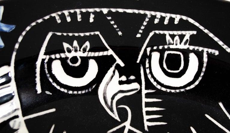 'Bright Owl' original Madoura ceramic rectangular platter, Edition Picasso - Black Figurative Sculpture by Pablo Picasso