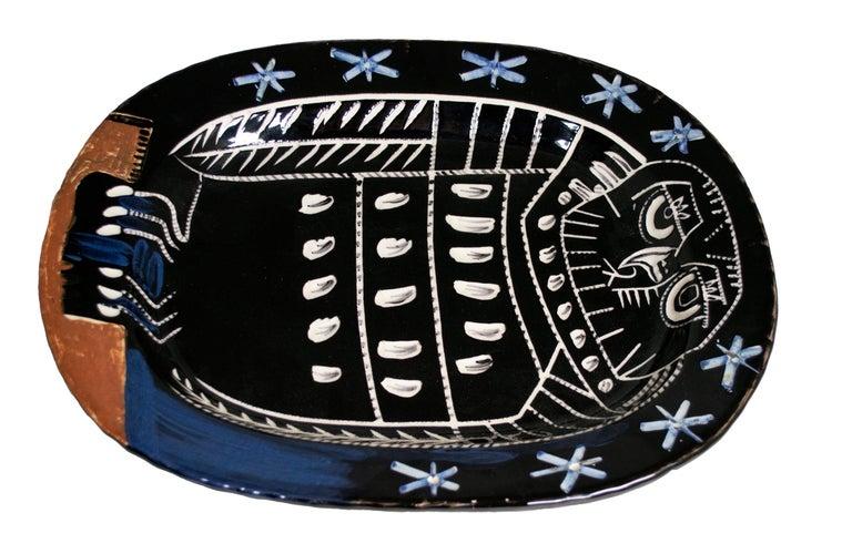 'Bright Owl' original Madoura ceramic rectangular platter, Edition Picasso For Sale 1