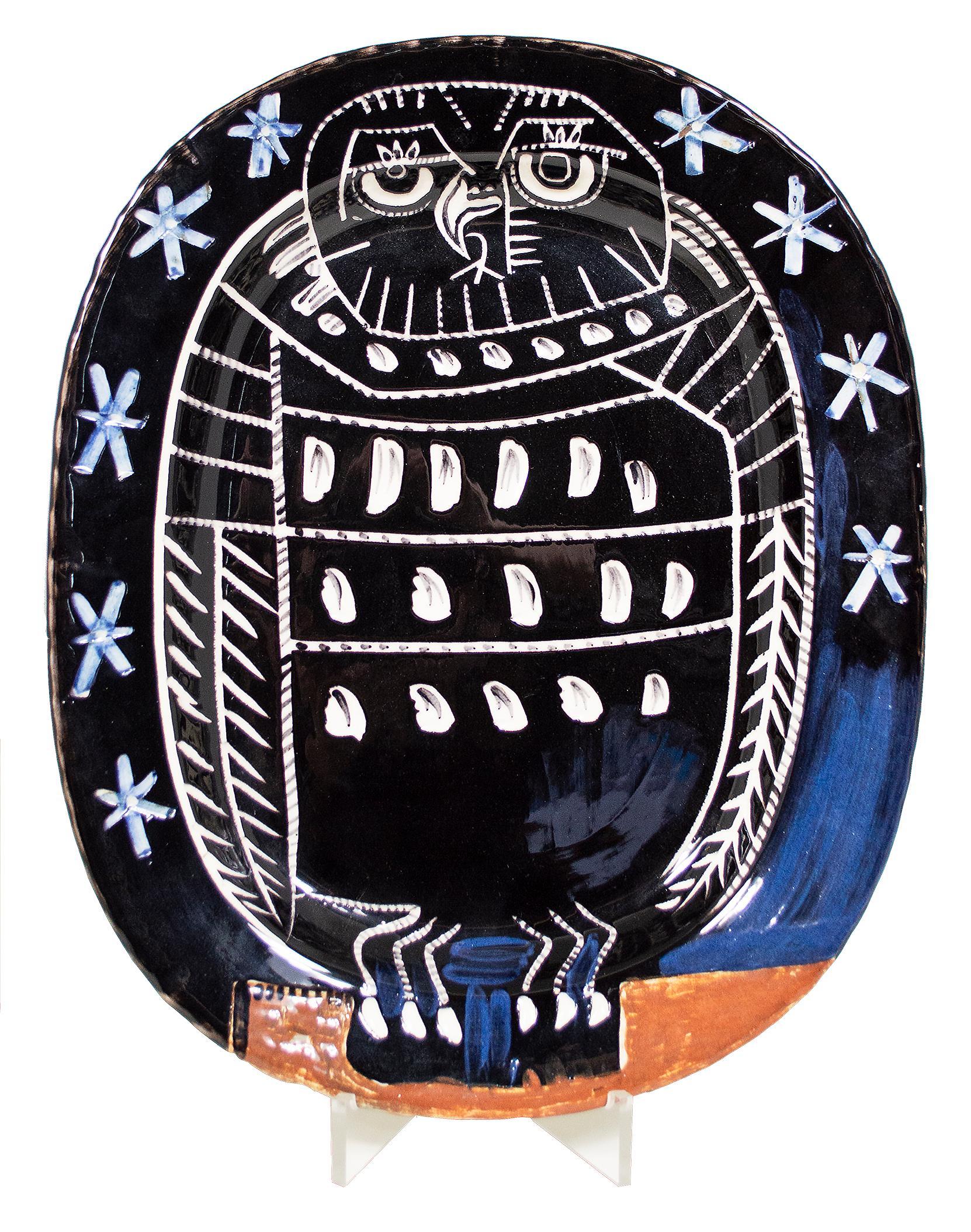 'Bright Owl' original Madoura ceramic rectangular platter, Edition Picasso