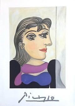Buste de Femme au Foulard Mauve, Limited Edition Lithograph