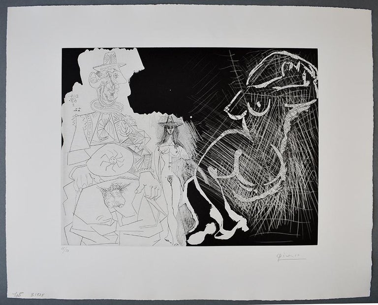 Caricature of General de Gaulle and Two Women, from: Series 347 - French Series - Print by Pablo Picasso