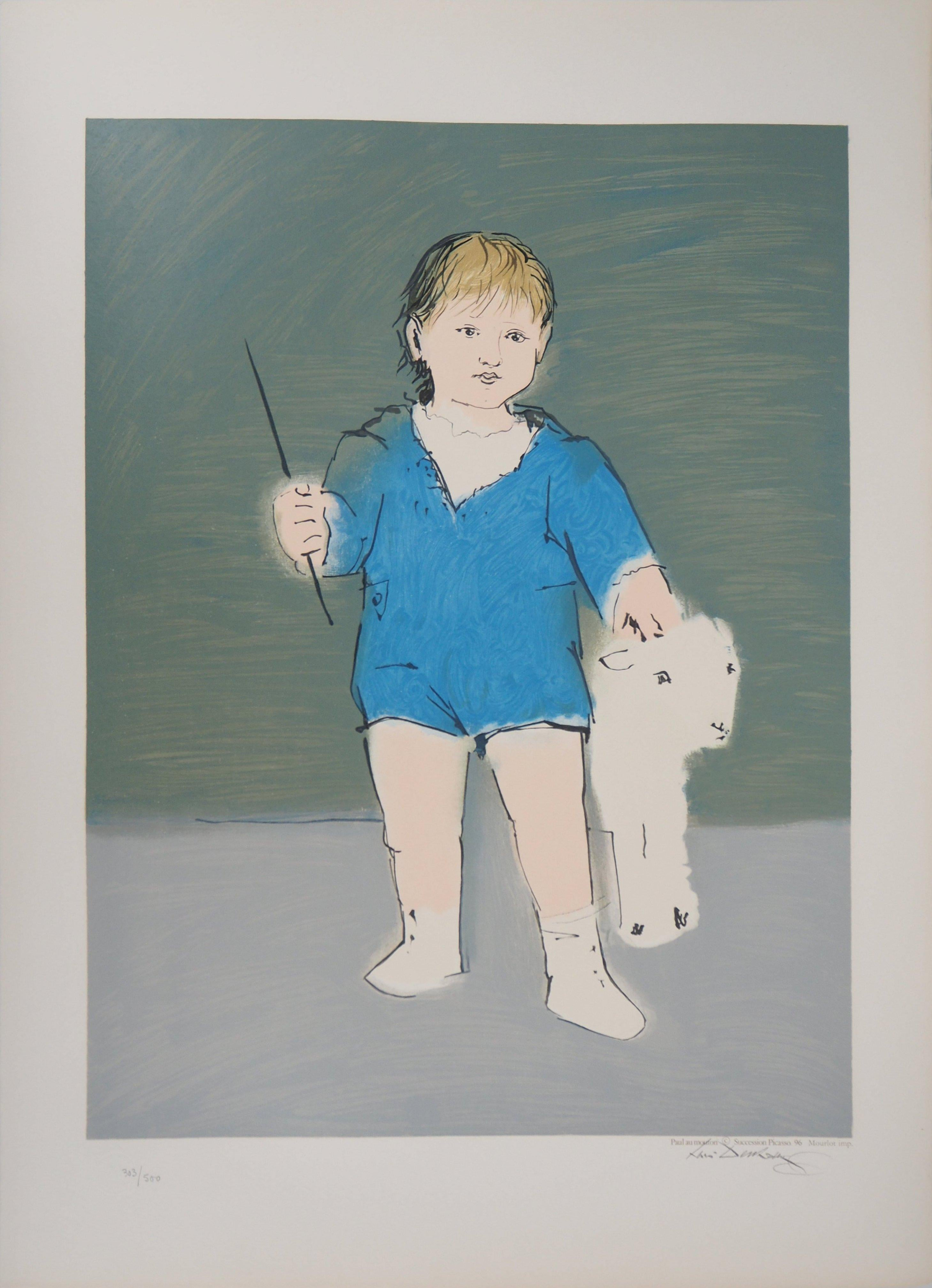 Child with a Lamb - Lithograph (Mourlot)