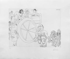 COMÉDIENS AMBULANTS ET COMBAT DE COQS, EAU FORTE, 347 SERIES (BLOCH 1562)
