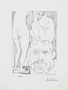 Crouching Model Nude and Sculptured Head (The Vollard Suite)