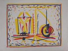 Cubist Composition with Glass and Apple - Original lithograph - Mourlot #33