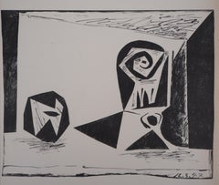 Cubist Composition with Glass and Apple - Original lithograph - Mourlot #77