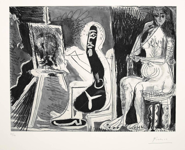 Dans l'Atelier [Peintre avec le portrait d'un jeune garcon, dans son atelier]