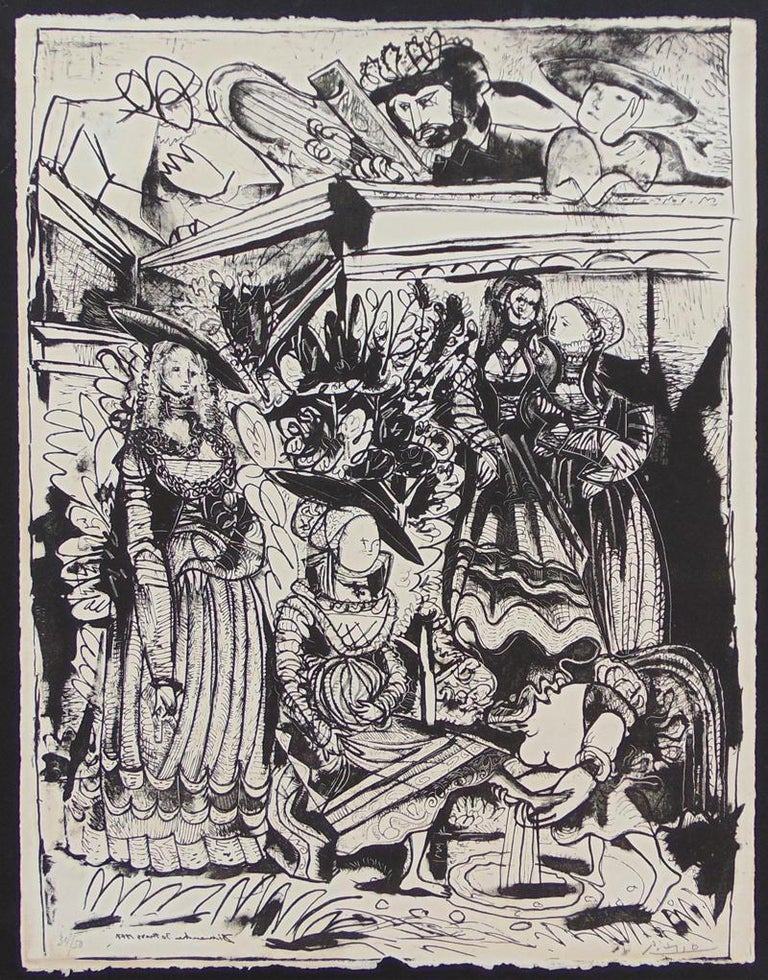 David and Bathsheba (After Lucas Cranach) II Religious Jewish Modern - Print by Pablo Picasso
