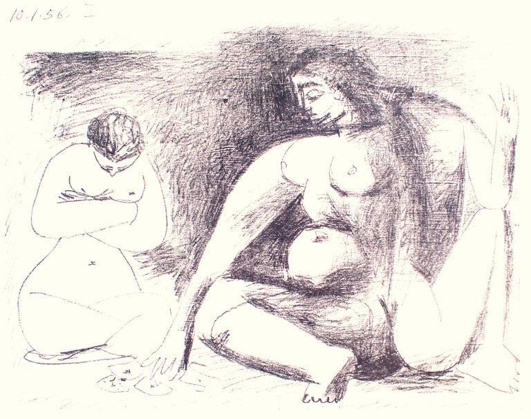Deux Femmes Accroupies - Original Lithograph by Pablo Picasso - 1956 For Sale 1