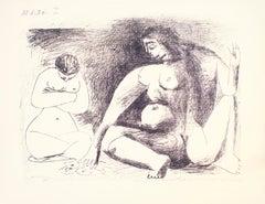 Deux Femmes Accroupies - Original Lithograph by Pablo Picasso - 1956