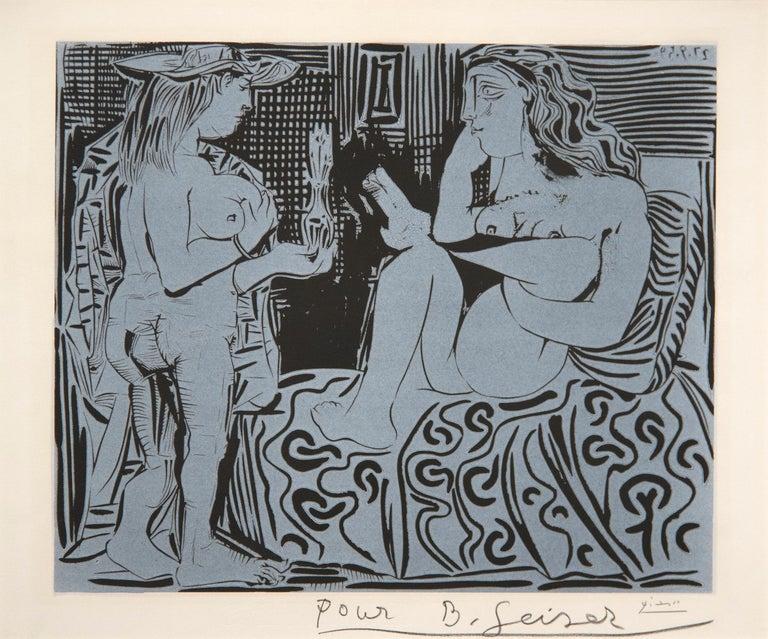 Deux Femmes avec un Vase a Fleurs - Brown Nude Print by Pablo Picasso