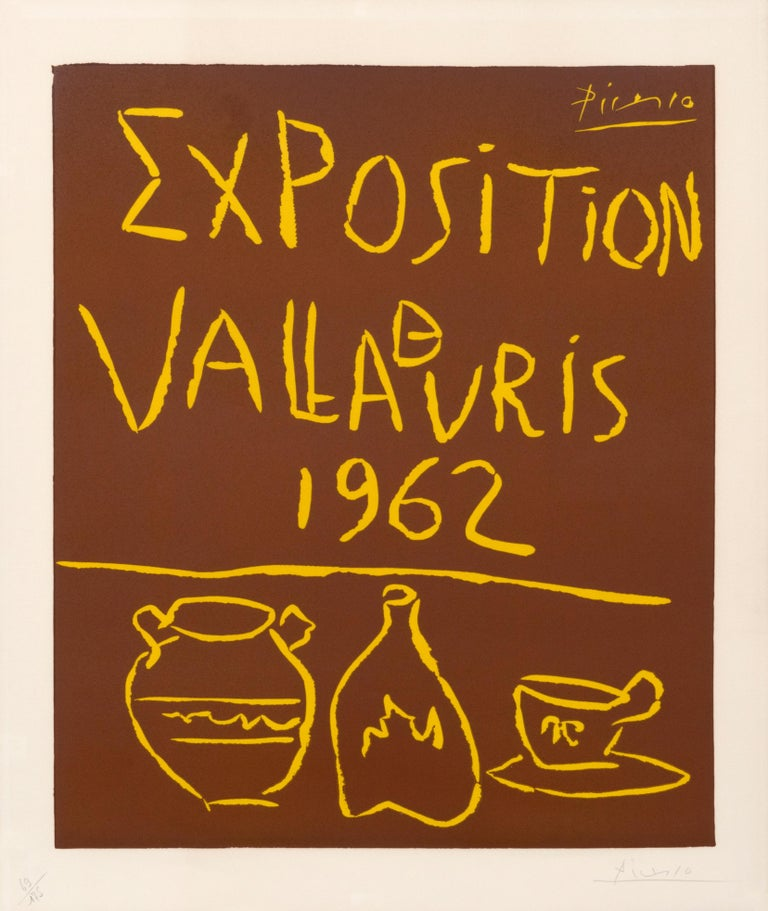 """Exposition Vallauris 1962"""" hand signed Vintage Exhibition Poster - Print by Pablo Picasso"""