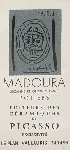 Faun Head - Original linocut (invitation card for exhibition in Madoura Gallery)