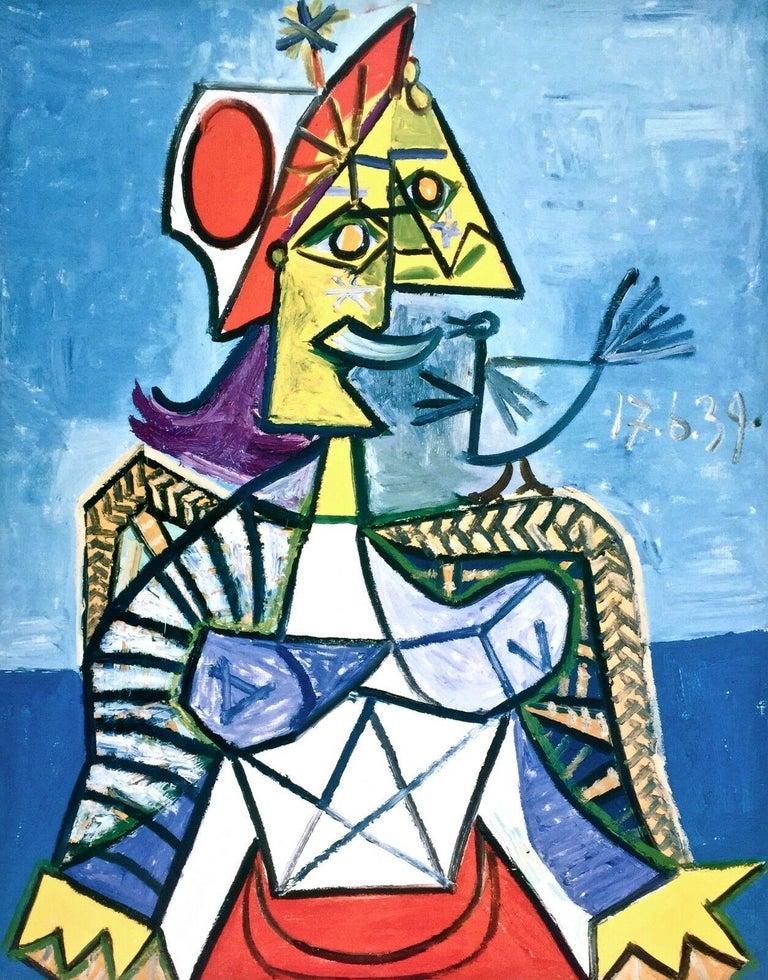 Femme a L'Oiseau, 1999 Exhibition Offset Lithograph - Cubist Print by Pablo Picasso