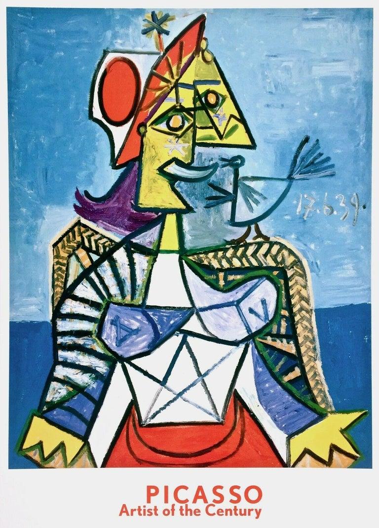 Pablo Picasso Figurative Print - Femme a L'Oiseau, 1999 Exhibition Offset Lithograph