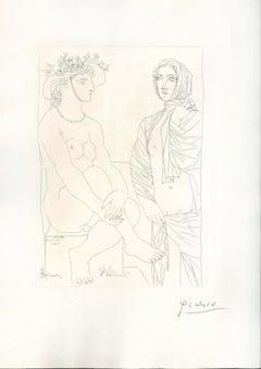Femme Assise au Chapeau et Femme Debout Drapée . Original Etching by P. Picasso