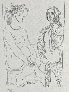 Femme assise au Chapeau et Femme debout drappée (Suite Vollard Planche LXXIX)