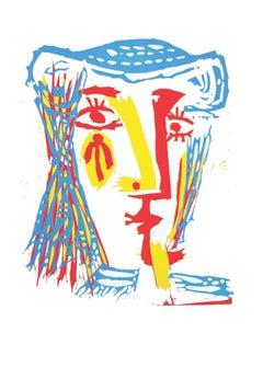 Femme au chapeau de paille bleue (Ba1282)
