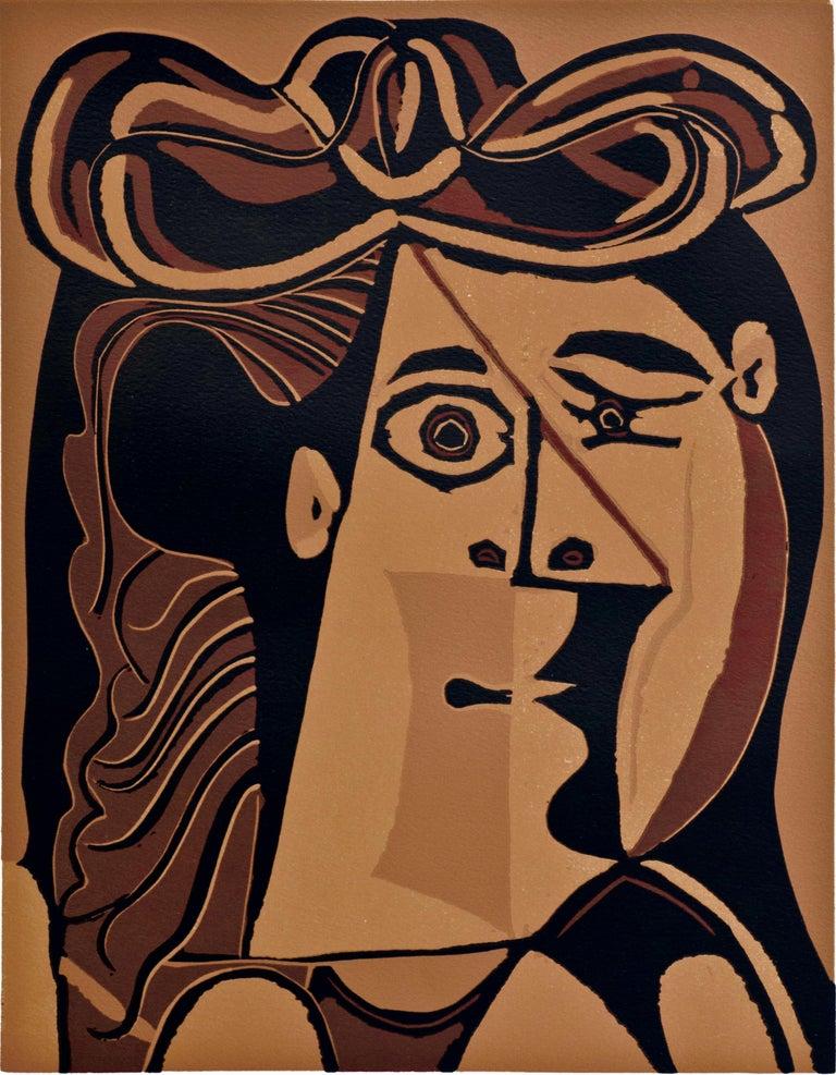 Femme au Chapeau - Original Linocut by Pablo Picasso - 1962 For Sale 1