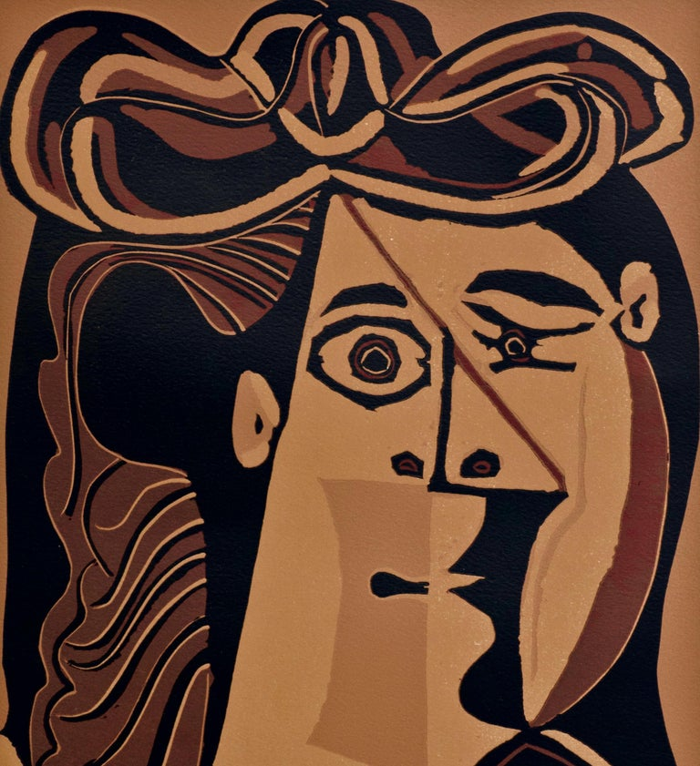Femme au Chapeau - Original Linocut by Pablo Picasso - 1962 For Sale 2