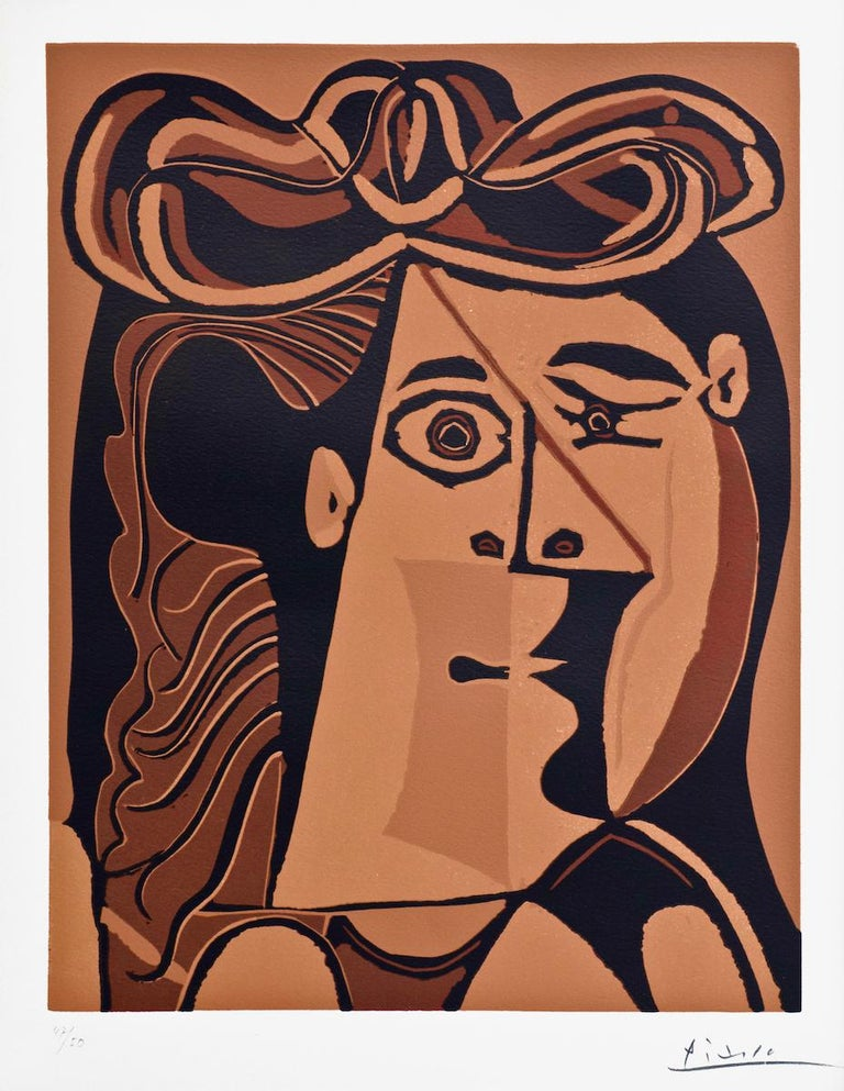 Beautiful, important and rare print by Pablo Picasso. Image dimensions: 34x27 cm.  Linocut in colors, hand signed and numbered.  Edition of 50 prints.   Pablo Picasso experimented with linoleum cuts by gouging a sheet of aluminum fused to a wood