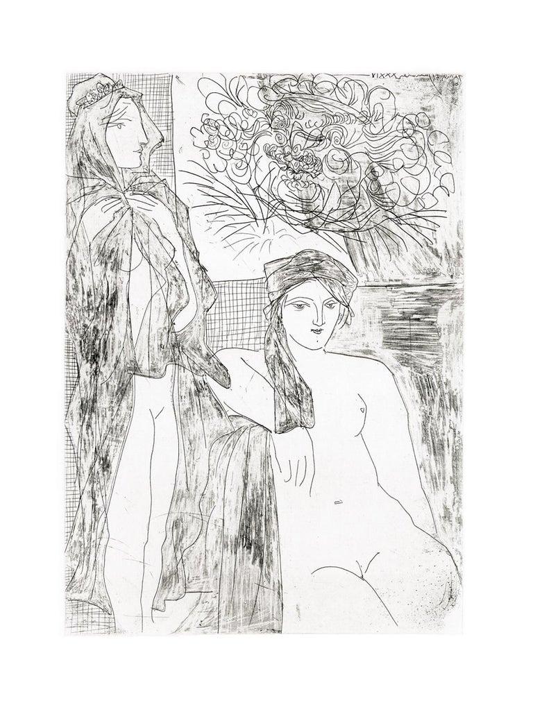 Pablo Picasso Figurative Print - Femme au Voile, Modèle assis et Tête de Rembrandt (S.V. 35) (Bloch 215)