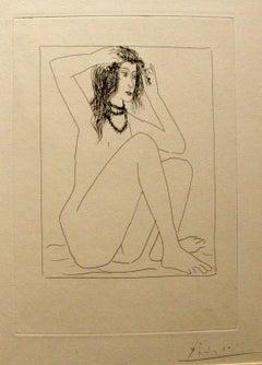 """Femme nue se couronnant de fleurs - From the """"Suite Vollard"""" by P. Picasso"""